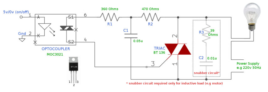 traic switch to control high voltage devices, circuit diagram